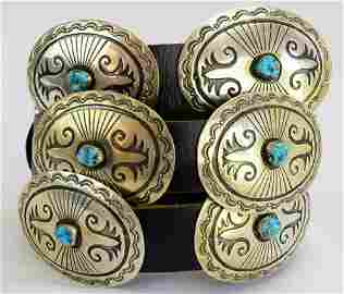 C. M. Yazzie Old Pawn Sterling Masterpiece Concho Belt