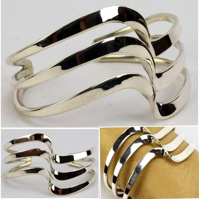 "Sterling Silver Navajo ""Wave"" Bracelet"