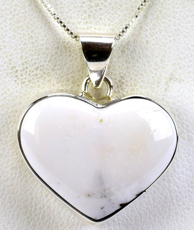 Navajo Sterling Silver White Buffalo Heart Necklace