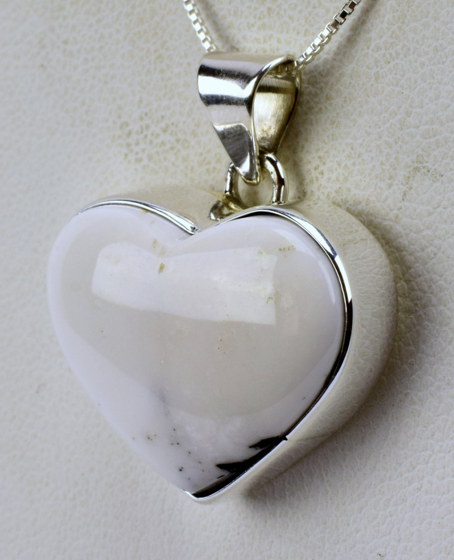 Navajo Sterling Silver White Buffalo Heart Necklace - 2