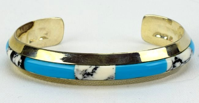 Native American Sterling Silver Inlay Cuff Bracelet