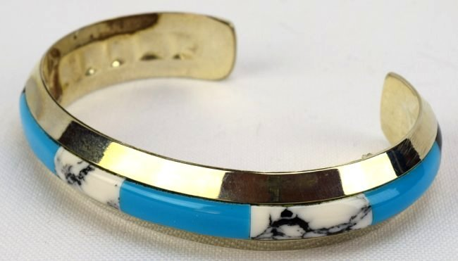 Native American Sterling Silver Inlay Cuff Bracelet - 3