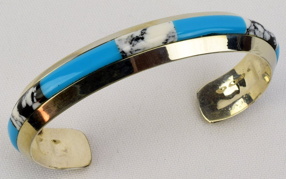 Native American Sterling Silver Inlay Cuff Bracelet - 4