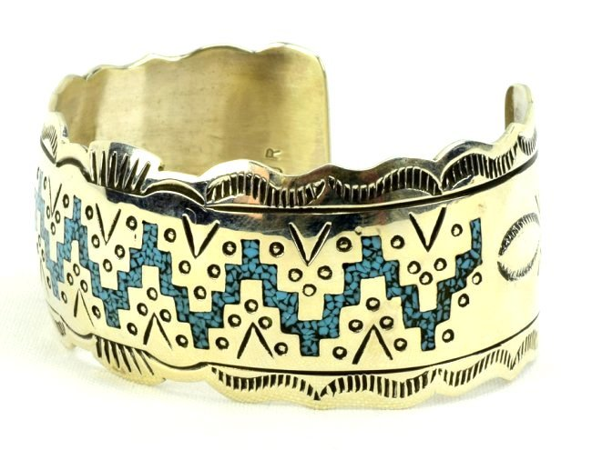 Navajo Sterling Silver Turquoise Inlay Cuff Bracelet - 2
