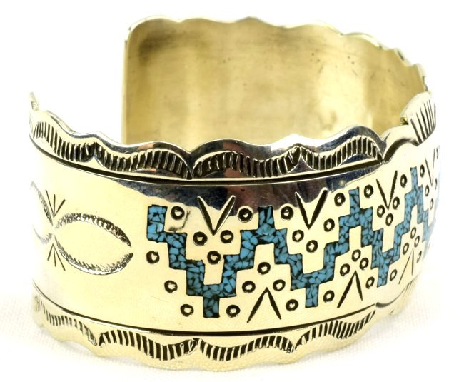 Navajo Sterling Silver Turquoise Inlay Cuff Bracelet - 3
