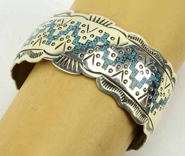 Navajo Sterling Silver Turquoise Inlay Cuff Bracelet - 5