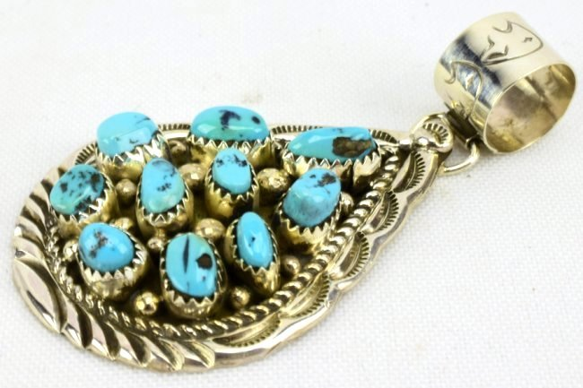 Navajo D. Benally Sterling Turquoise Nugget Pendant