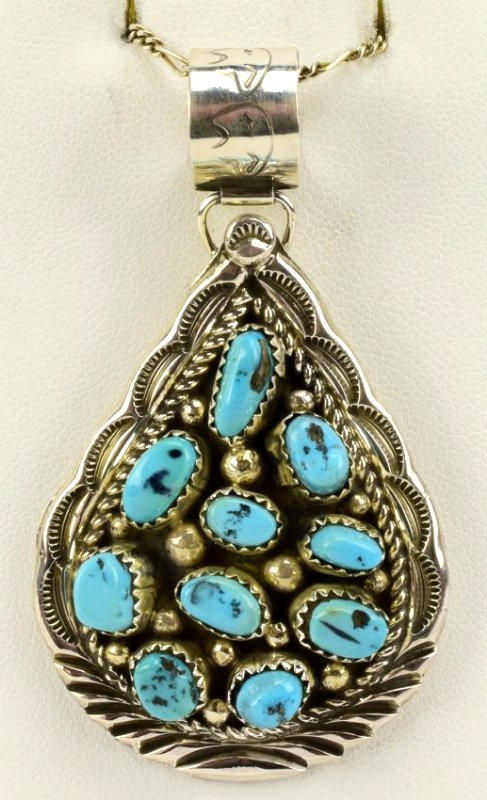 Navajo D. Benally Sterling Turquoise Nugget Pendant - 2