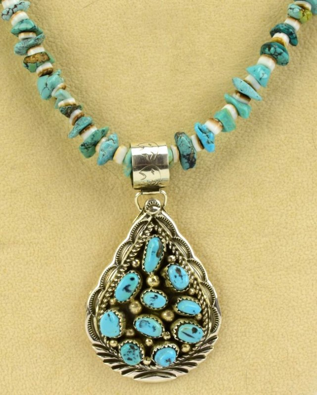 Navajo D. Benally Sterling Turquoise Nugget Pendant - 3