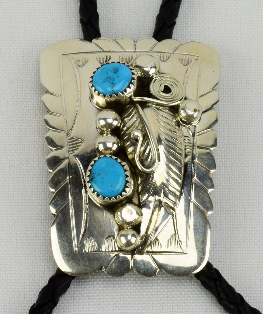 Navajo Sterling Silver Turquoise Nugget Bolo Tie