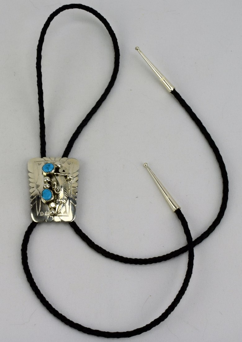 Navajo Sterling Silver Turquoise Nugget Bolo Tie - 2