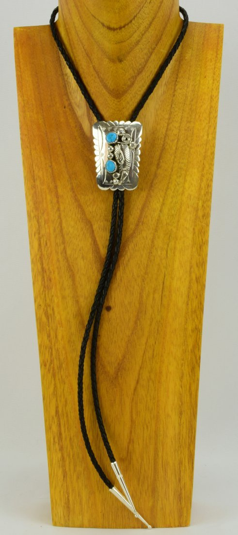 Navajo Sterling Silver Turquoise Nugget Bolo Tie - 4
