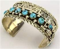 Randal Sahmie Hopi Turquoise Cuff Bracelet w/Turq.