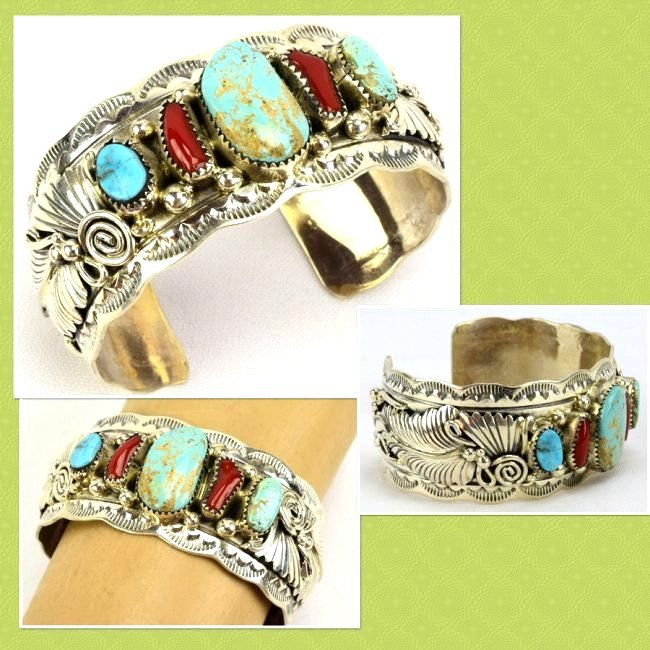 Navajo Sterling Turquoise and Coral Cuff Bracelet