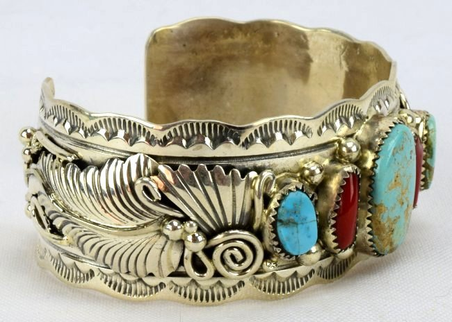 Navajo Sterling Turquoise and Coral Cuff Bracelet - 3