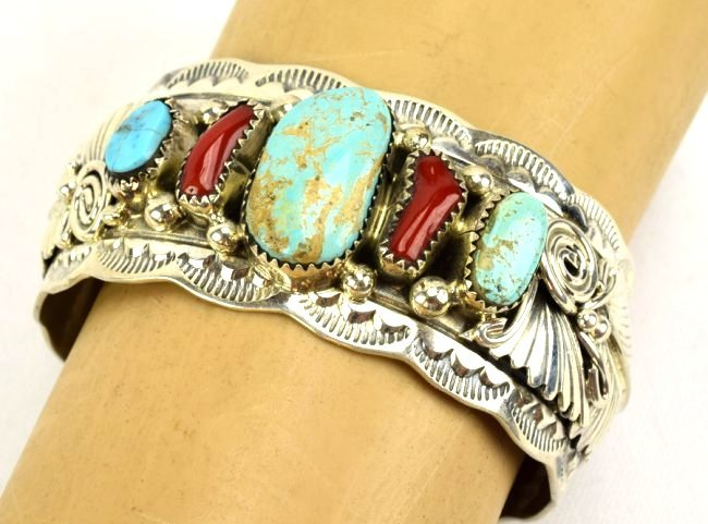 Navajo Sterling Turquoise and Coral Cuff Bracelet - 6