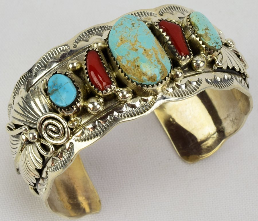 Navajo Sterling Turquoise and Coral Cuff Bracelet - 7