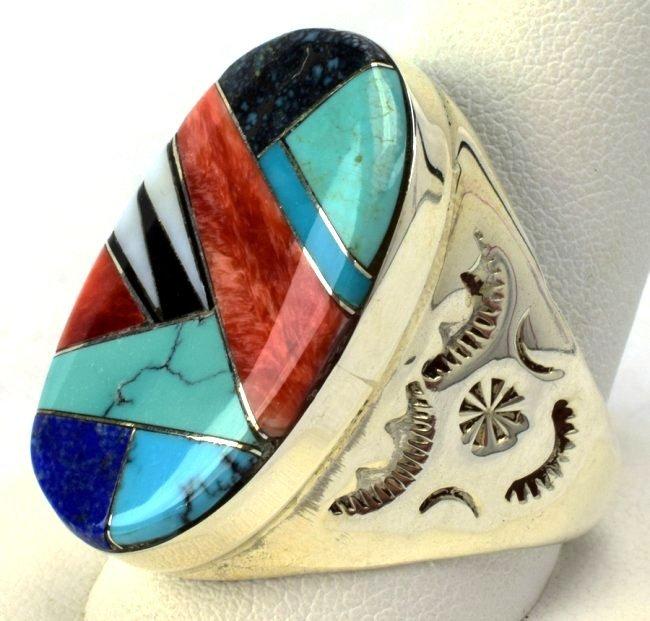 Navajo Sterling Silver Multi-Stone Men's Ring