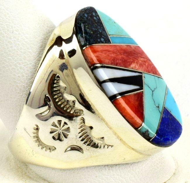 Navajo Sterling Silver Multi-Stone Men's Ring - 2