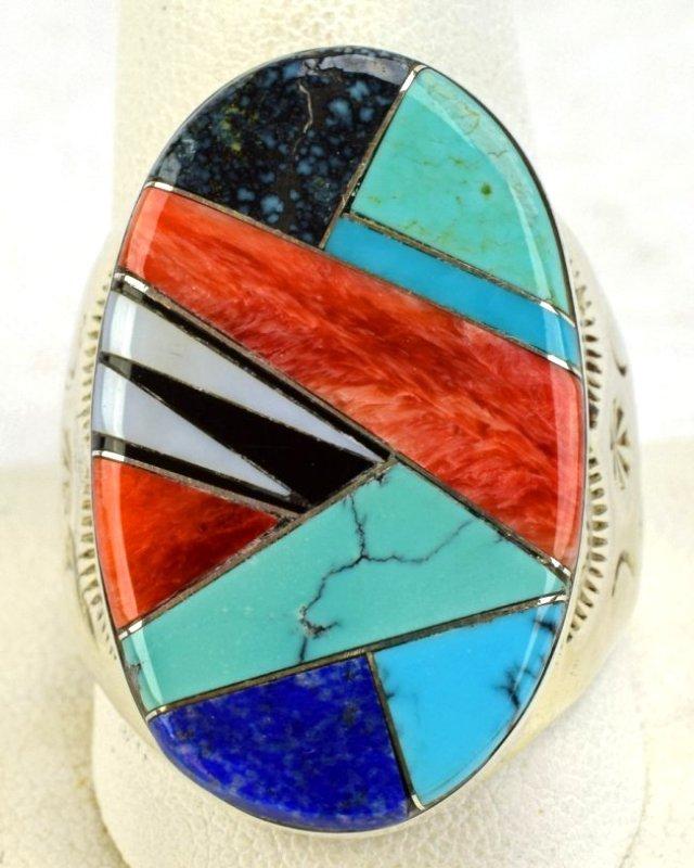 Navajo Sterling Silver Multi-Stone Men's Ring - 3