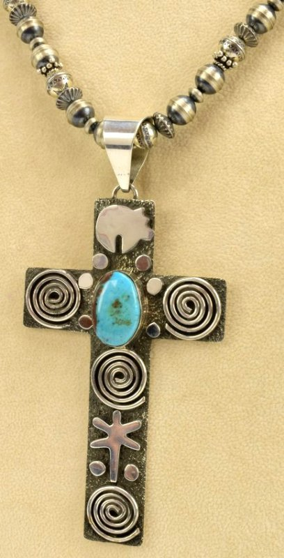 Alex Sanchez Navajo Sterling Silver Petroglyph Necklace - 4