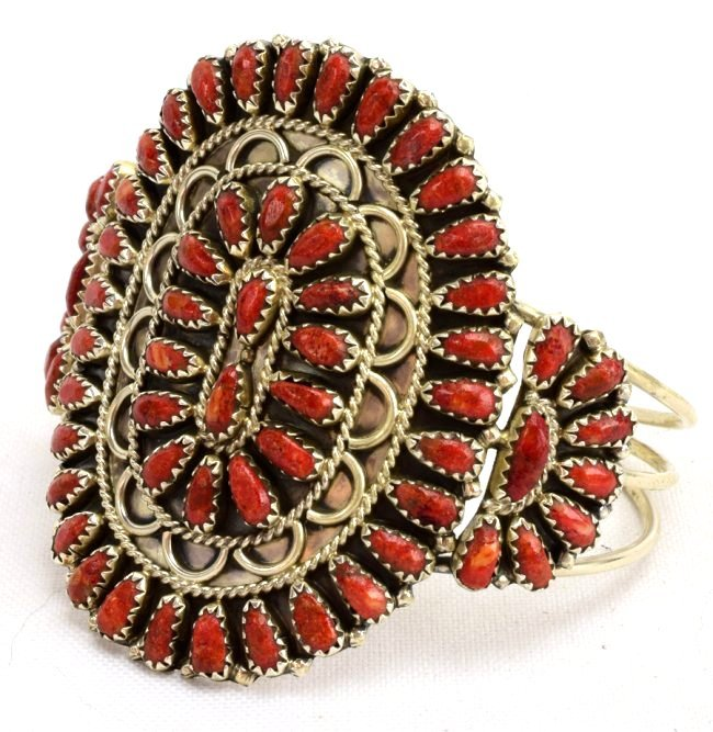 Gerald Mitchell Sterling Natural Coral Cuff Bracelet - 2