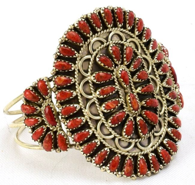 Gerald Mitchell Sterling Natural Coral Cuff Bracelet - 3