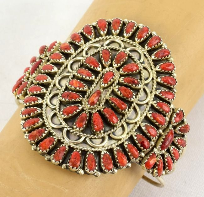Gerald Mitchell Sterling Natural Coral Cuff Bracelet - 4