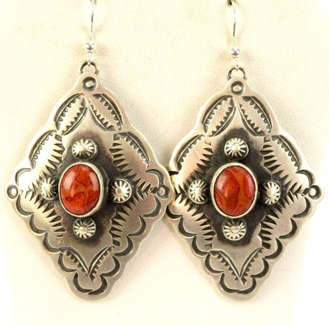 Navajo Sterling Concho Dangle Earrings w/Spiny Oyster