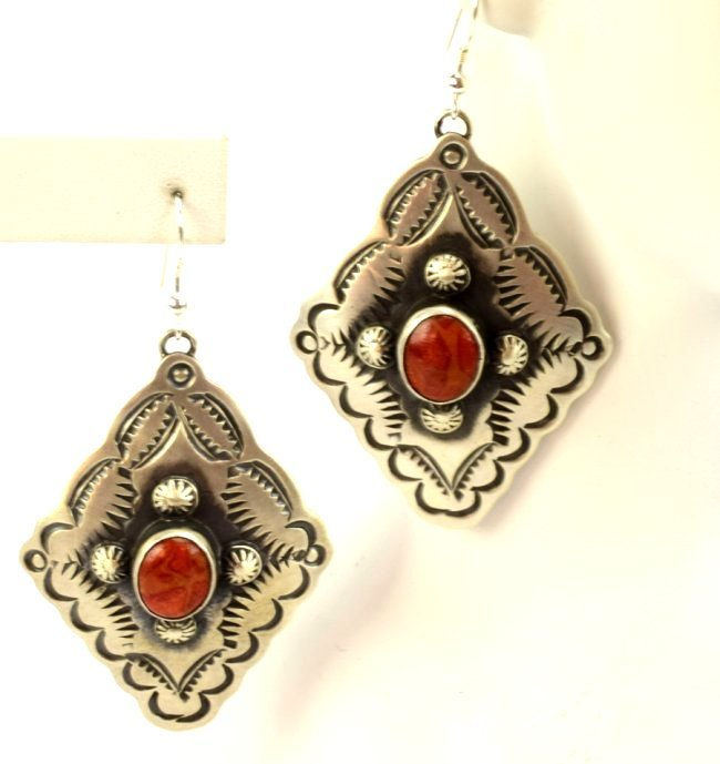 Navajo Sterling Concho Dangle Earrings w/Spiny Oyster - 2