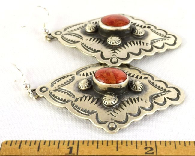 Navajo Sterling Concho Dangle Earrings w/Spiny Oyster - 3