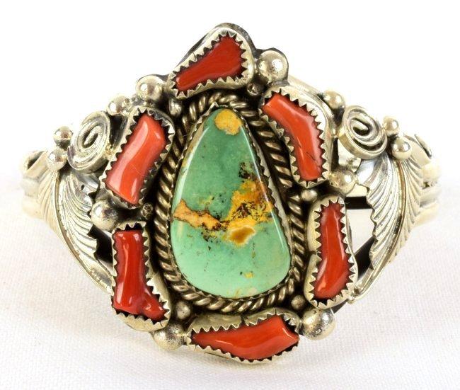 Vintage Navajo Sterling Turquoise & Coral Bracelet