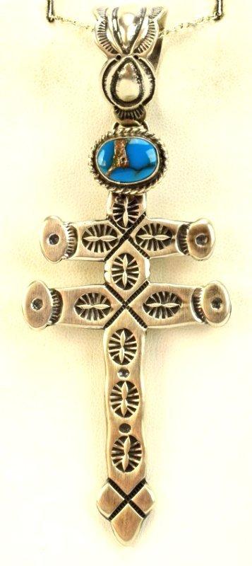 Navajo Sterling Isleta Cross Pendant - Russell Sam