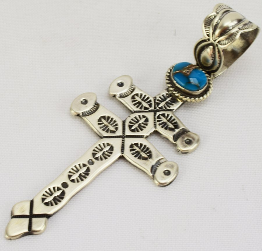Navajo Sterling Isleta Cross Pendant - Russell Sam - 2