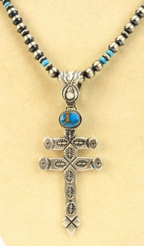 Navajo Sterling Isleta Cross Pendant - Russell Sam - 3