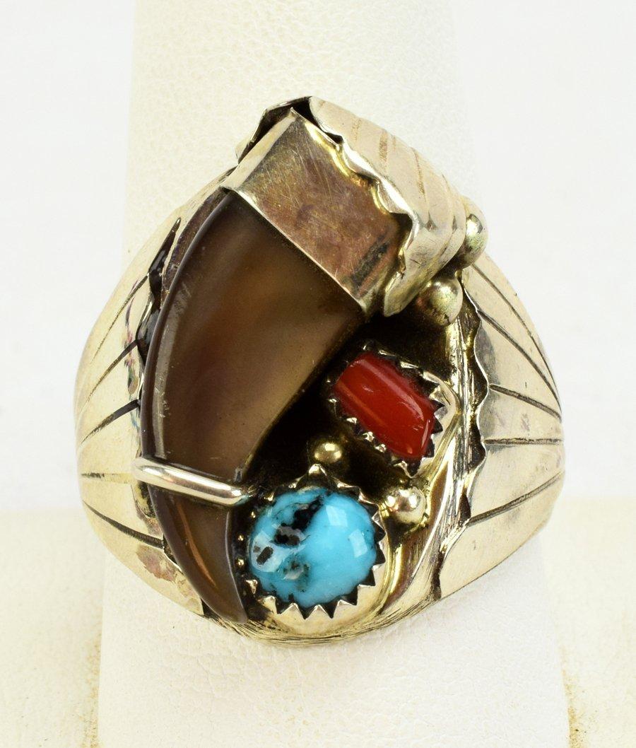 Elaine Sam Sterling Silver Men's Bear Claw Ring