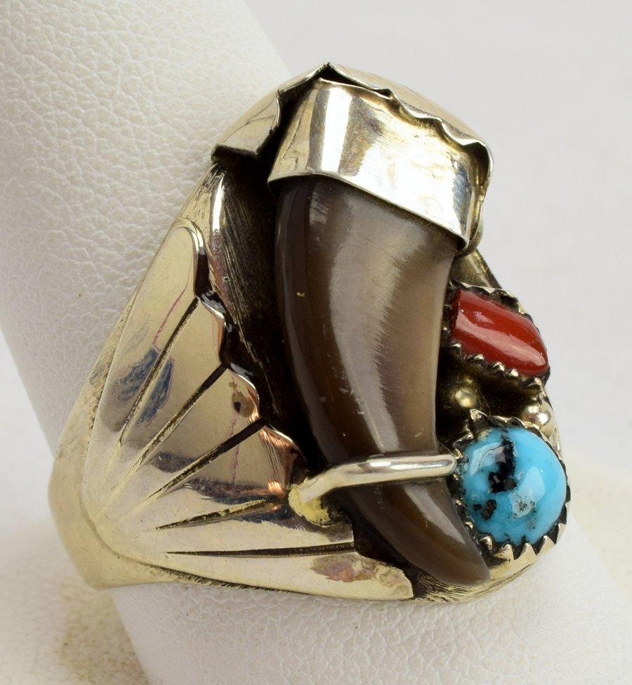 Elaine Sam Sterling Silver Men's Bear Claw Ring - 2