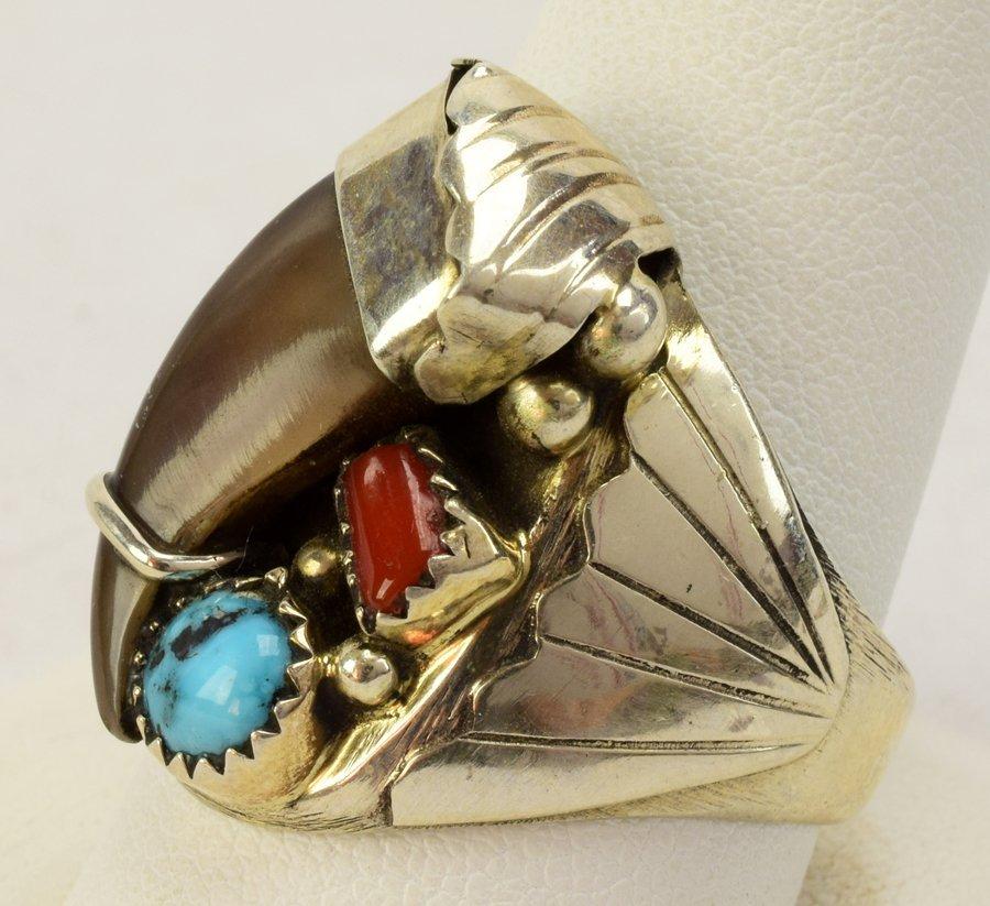 Elaine Sam Sterling Silver Men's Bear Claw Ring - 3