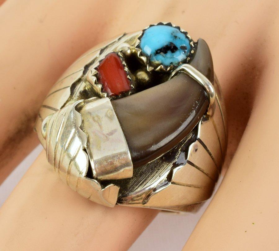 Elaine Sam Sterling Silver Men's Bear Claw Ring - 4