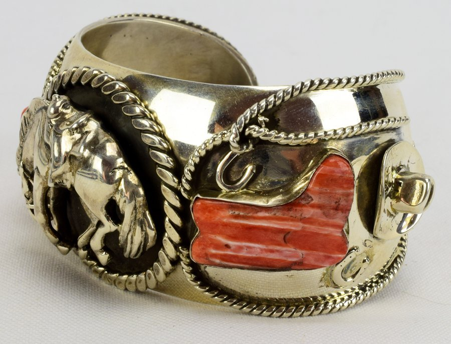 Russell Sam  3-D Bucking Bronc w/Spiny Oyster Bracelet - 4
