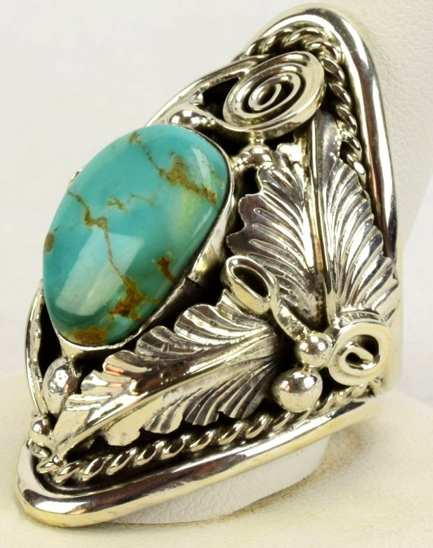 Navajo Sterling Big Men's Turquoise & Feather Ring