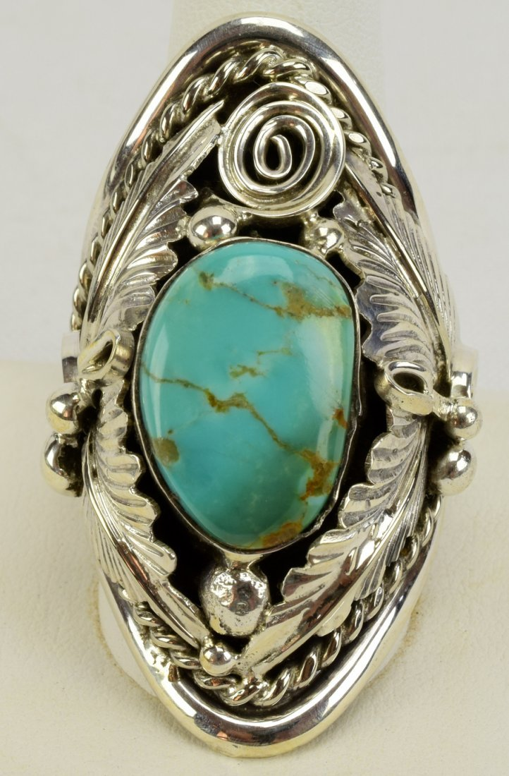 Navajo Sterling Big Men's Turquoise & Feather Ring - 2