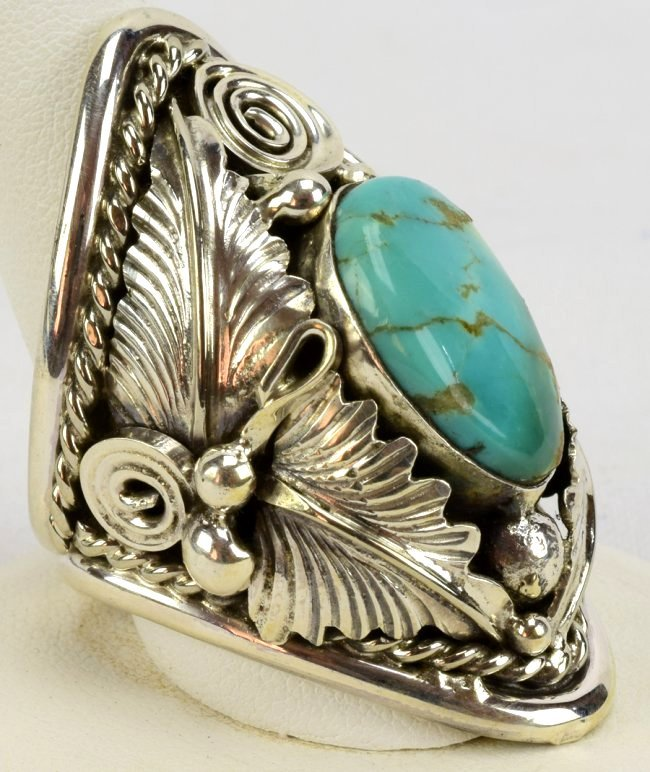 Navajo Sterling Big Men's Turquoise & Feather Ring - 3