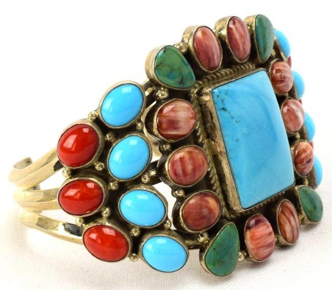 Navajo Sterling Multi-Stone Bracelet by Daniel Mike - 2