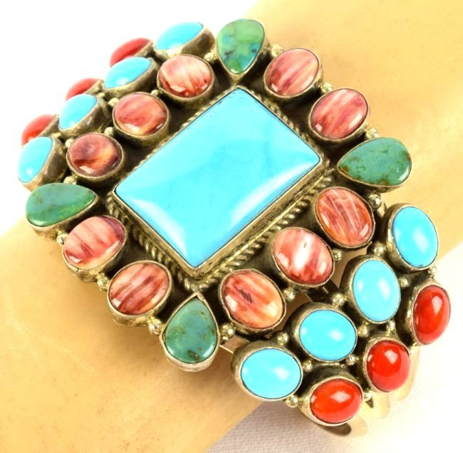 Navajo Sterling Multi-Stone Bracelet by Daniel Mike - 5