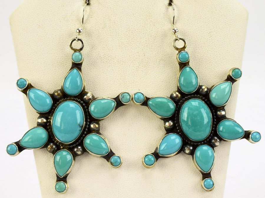 Navajo Turquoise Masterpiece Earrings by Raymond Beard