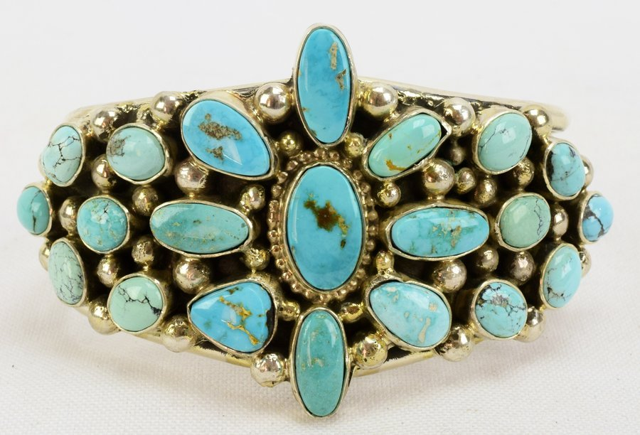 Sterling Navajo Turquoise Bracelet-Kathleen Chavez