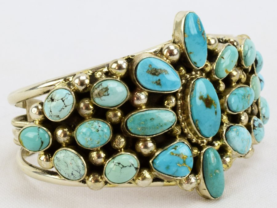 Sterling Navajo Turquoise Bracelet-Kathleen Chavez - 2