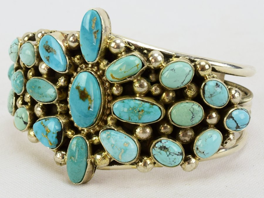 Sterling Navajo Turquoise Bracelet-Kathleen Chavez - 3