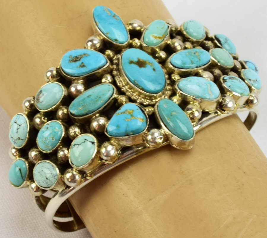 Sterling Navajo Turquoise Bracelet-Kathleen Chavez - 5